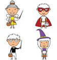 happy boys and girls in halloween costumes vector image