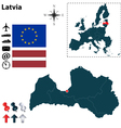 Latvia and European Union map vector image vector image