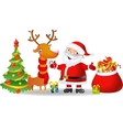 Santa Claus and Reindeer with a bag of Christmas vector image