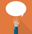 Hand raised with speech bubble vector image