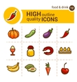 food color icons set vector image vector image