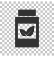 Supplements container sign Dark gray icon on vector image
