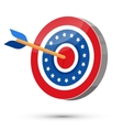 Arrow hit in the center of USA target vector image