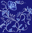 continuous pattern of interwoven flowers dark vector image