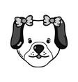 grayscale cute dog female pet animal vector image
