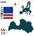Latvia and European Union map vector image