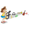 girl playing saxophone with music notes in vector image vector image