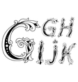 Letters G H I J and K in retro floral style vector image
