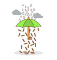 Isolated cartoon investment umbrella vector image