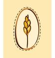 Cartoon wheat ear in a frame vector image