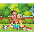 Children reading books in the garden vector image