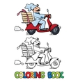 Funny pizza chef on scooter Coloring book vector image