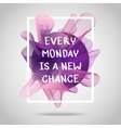 Every monday is a new chance Inspirational quote vector image