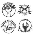 Vintage repair workshop emblems vector image