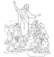 jesus preaches the gospel coloring page vector image