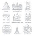 Set Flat Line Icons Paris Architecture vector image