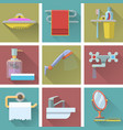 set of bathroom icons in flat style vector image