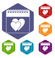 wedding date day on calendar icons set vector image