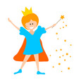 little girl in the crown and with a magic wand on vector image vector image