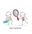 tax inspector with magnifying glass looking at the vector image