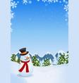 snowman in winter landscape vector image