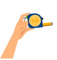 hand with measuring tape vector image
