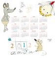 template for calendar 2012 with cartoon style illu vector image vector image