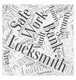 Bank Locksmiths Word Cloud Concept vector image