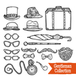 Gentelman Vintage Accessories Doodle Black Set vector image