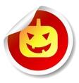 Halloween pumpkin flat icon sticker vector image