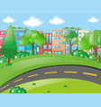 scene with buildings and empty road vector image