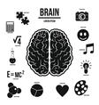 Human brain infographics set simple style vector image