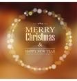 Christmas greeting card with bokeh lights wreath vector image