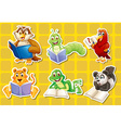 Animals and book vector image vector image