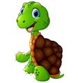 cute green waving turtle vector image