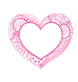 Floral doodle pink heart frame in zentangle style vector image