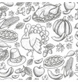 seamless pattern of thanksgiving icons vector image