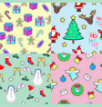 seamless patterns set in flat style xmas elements vector image