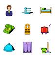 inn icons set cartoon style vector image
