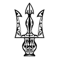 Black and white tattoo trident vector image vector image
