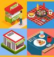 pizzeria isometric design concept vector image