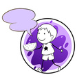 A lavender template with a boy holding a vector image