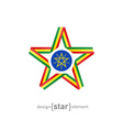star with flag of Ethiopia colors and symbols vector image