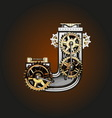 j letter with gears vector image