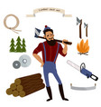 lumberjack timber and woodworking tools vector image