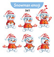 set of cute snowman characters set 1 vector image