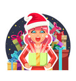 surprised christmas cute cartoon girl hold light vector image