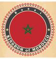 Vintage label cards of Morocco flag vector image