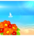 summer background with boat in the sea vector image vector image