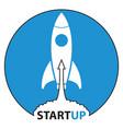 rocket icons start up on blue background vector image